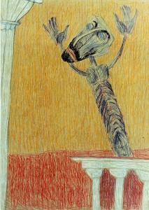 """Kestutis Vasiliunas. """"Saint Rufinus is Making Preach in the Church of Assisi"""". 1994, coloured pencil, 70 x 50 cm"""