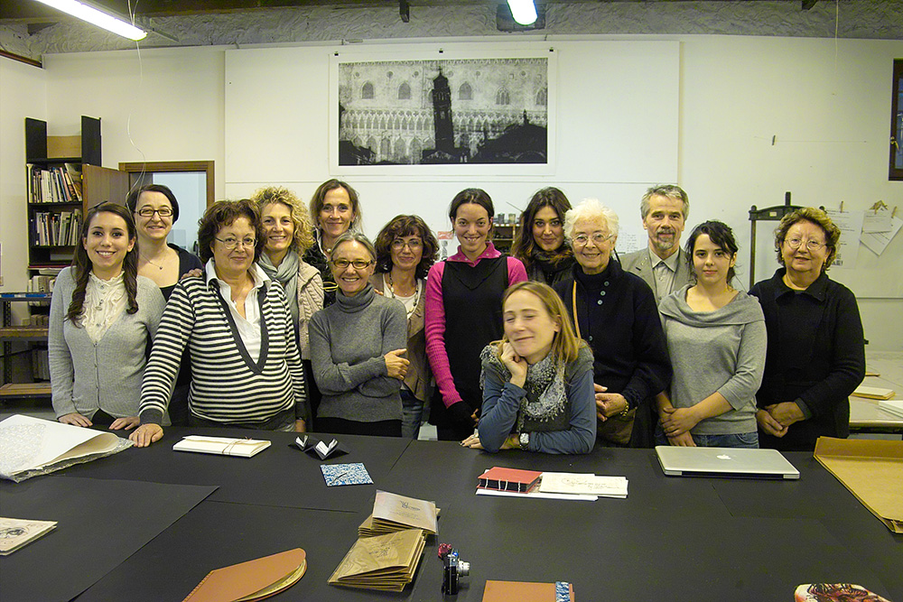 Artist's book creators with director Sign. Matilda Dolcetti, an artist Loretta Cappanera and Kestutis Vasiliunas after the Workshop