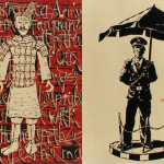 """""""Terracotta Soldiers"""". 2011, paper, coloured woodcut, 60 x 96 cm"""