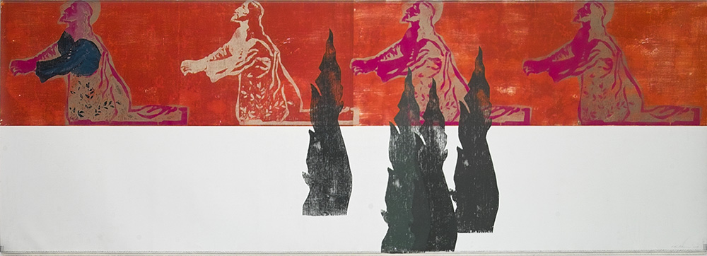 "Kestutis Vasiliunas. ""Gethsemane 1"". 2008, edition 1, canvas, coloured woodcut, 107 x 299 cm"