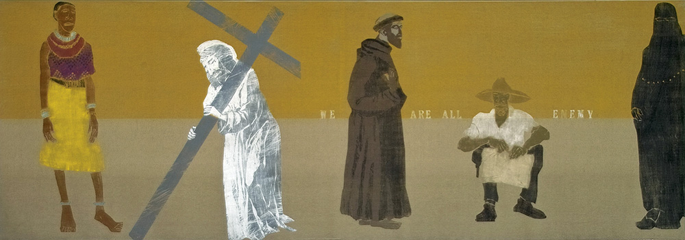 "Kestutis Vasiliunas. ""We Are All Enemy"". 2008, edition 1, canvas, coloured woodcut, letterpress, 107 x 299 cm"