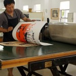 Master printing the wood plate