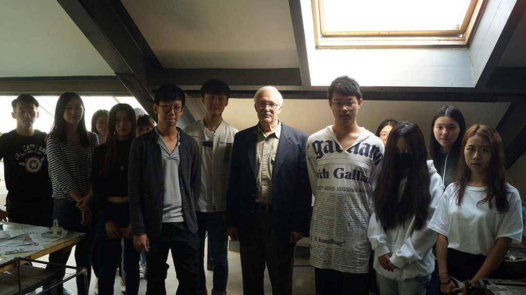 Prof. Evan Summer with the students