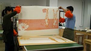 """Printing """"Eva & Apple 2"""" 2017. Masters Chen Kong Yue & Wang Yulin"""