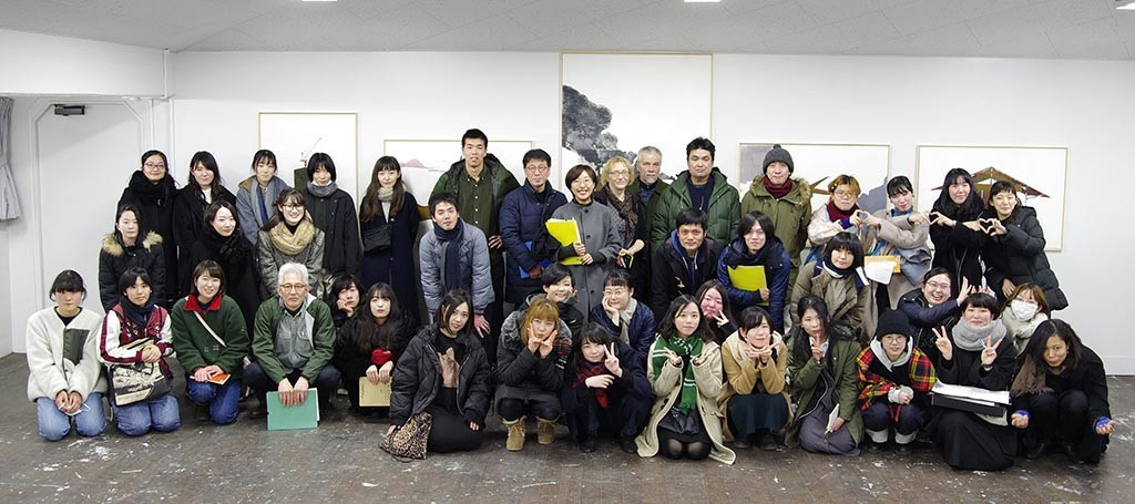 Professors and students after exams in Musashino Art University in 2019