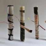 Karen Kunc + Kestutis Vasiliunas. Untitled, scroll of various exchange prints, tied with printed ephemera from envelops