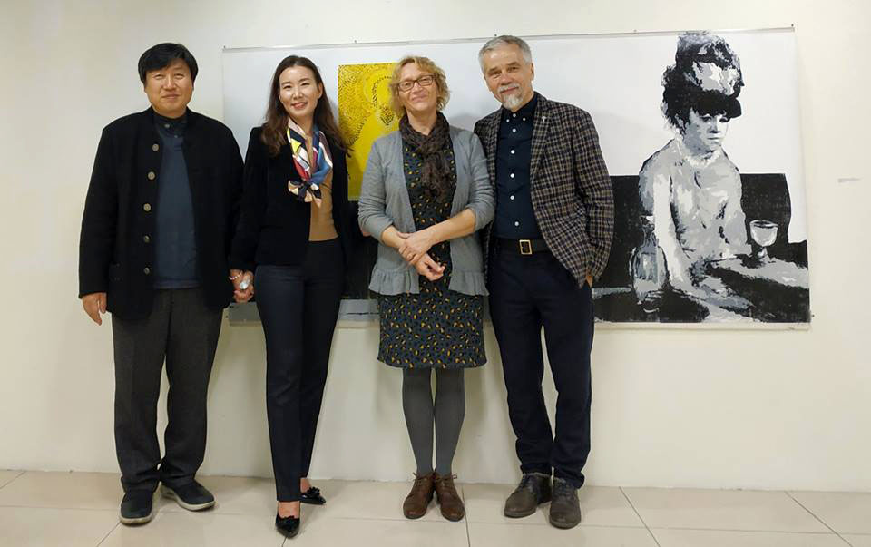 With Chang-Soo Kim, his wife Jihyun and Roberta in the Exhibition