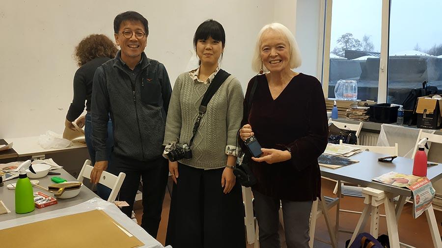 Ryuta Endo and Barbara Beisinghoff in the Printmaking workshop