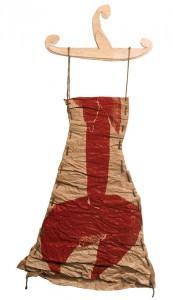 """Dress No. 027"". 2001, edition 1, paper, coloured woodcut, rope, wood 84 cm x 62 cm"
