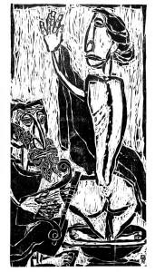 """David and Bathsheba"". 1996, paper, woodcut, 112 cm x 60 cm"