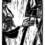"""Kestutis Vasiliunas. """"Saint Lucas"""". 1997, woodcut, 76 x 37,5 cm"""