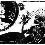"Kestutis Vasiliunas. ""Slendour"". 1997, woodcut, 51 x 62 cm"