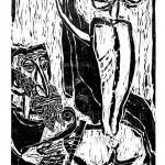 "Kestutis Vasiliunas. ""David & Bathsheba"". 1996, woodcut, 112 x 60 cm"