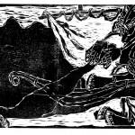 """Kestutis Vasiliunas. """"Fishermen"""". 1996, woodcut, 60 x 112 cm"""