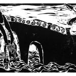 "Kestutis Vasiliunas. ""The Death of Saint John Nepomuk"". 1997, woodcut, 37,5 x 100 cm"
