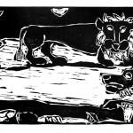"Kestutis Vasiliunas. ""The Death of Saint Paul"". 1997, woodcut, 37,5 x 100 cm"