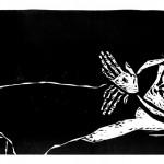 "Kestutis Vasiliunas. ""The Death of Saint Francis"". 1997, woodcut, 37,5 x 100 cm"