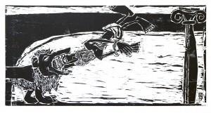 """Kestutis Vasiliunas. """"Death of Saint Ignatius"""". 1997, woodcut, 37,5 x 76 cm"""