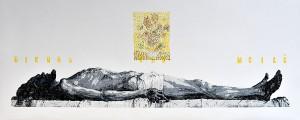 "Kęstutis Vasiliūnas. Lithuania. ""Vincent: Sun Flowers"". 2021, woodcut, 60 x 148 cm"