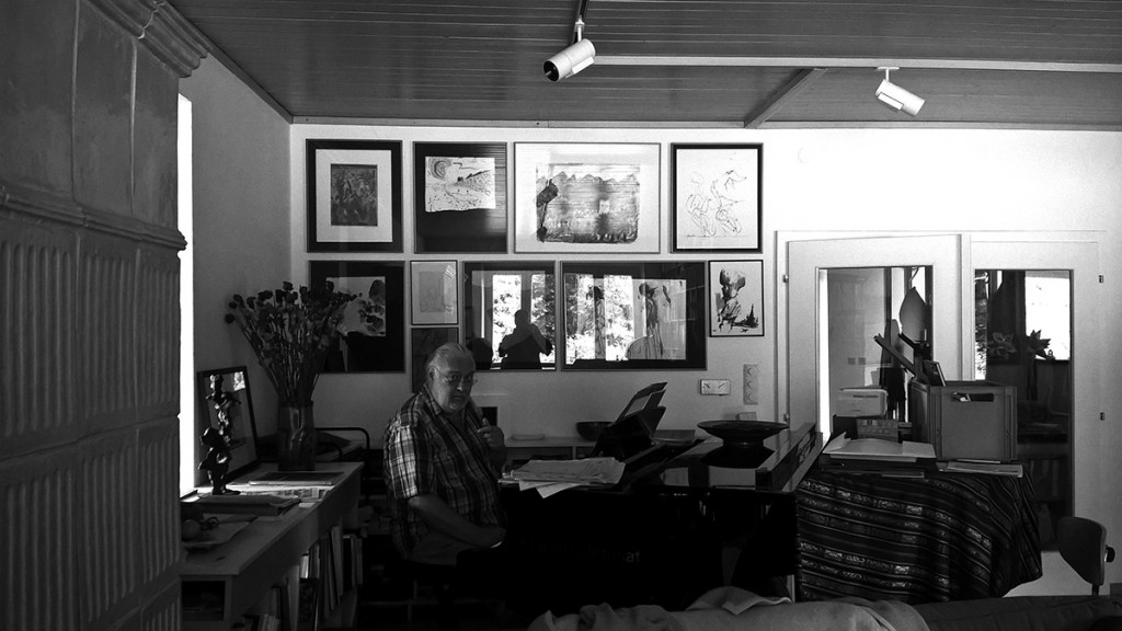 Artists book curator Toni Kurz near the piano