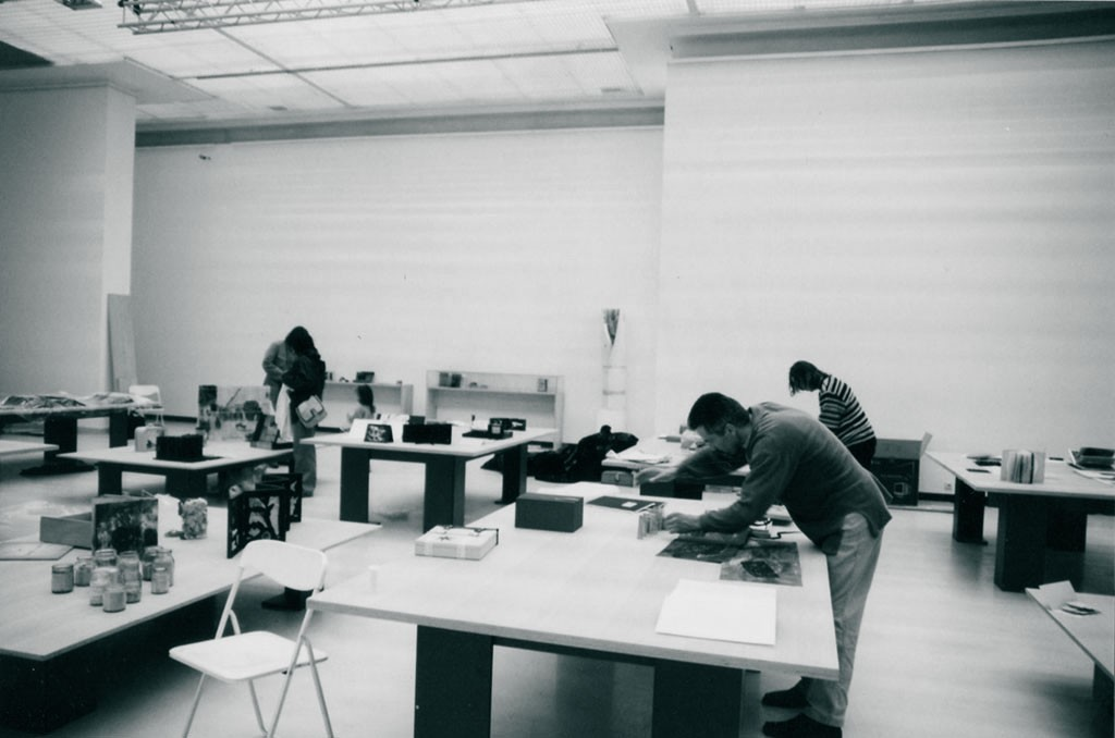Installing the 3rd Artist's Book Triennial in the Contemporary Art Centre in Vilnius in 2003