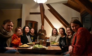 Dinner after all works in hostel (40 km autside Leipzig) like at home