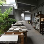 Lithography stones near lithography workshop