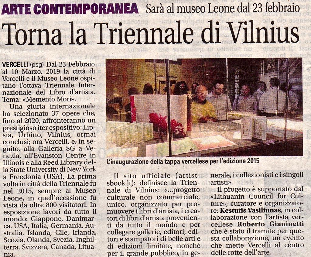"""""""Torna la Triennale di Vilnius"""""""