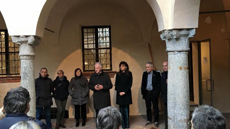 President of the Museo Leone Prof. Gianni Mentigazzi, Dr. Luca Brusotto, Mayor of Vercelli Mrs. Maura Forte, curator Prof. Kestutis Vasiliunas and Roberto Gianinetti