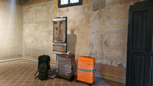 4 suitcases with artist's books in Museo Leone...