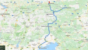 The road map from Venezia to Salzburg