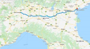 The road map from Vercelli to Venezia